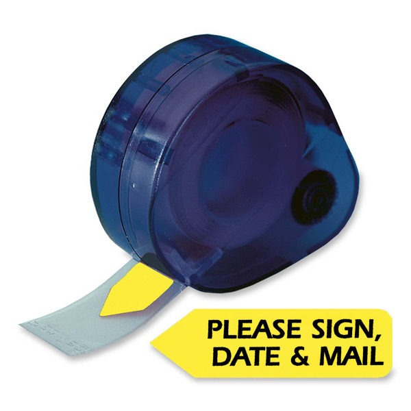 Redi-Tag® PLEASE SIGN, DATE & MAIL Tag Dispenser-YELLOW
