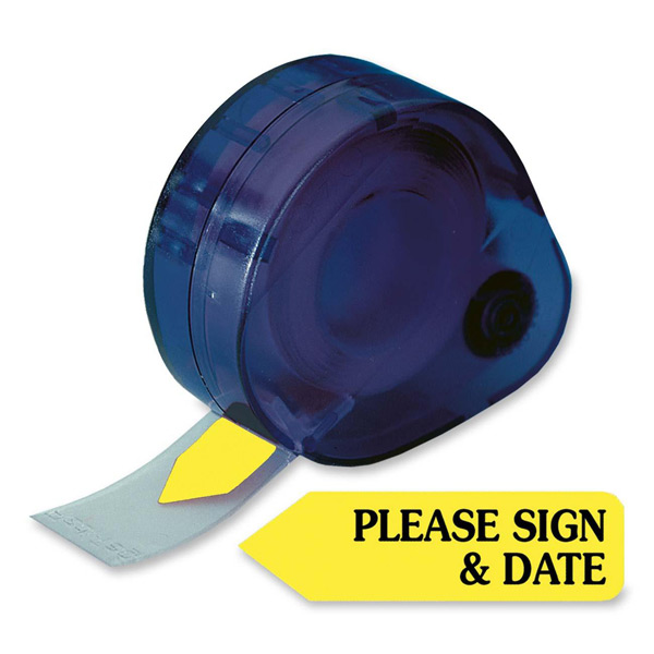 Redi-Tag® PLEASE SIGN & DATE Tag Dispenser-YELLOW