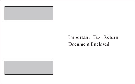 Double Window Envelope for W-2 4-per-page Horizontal Forms