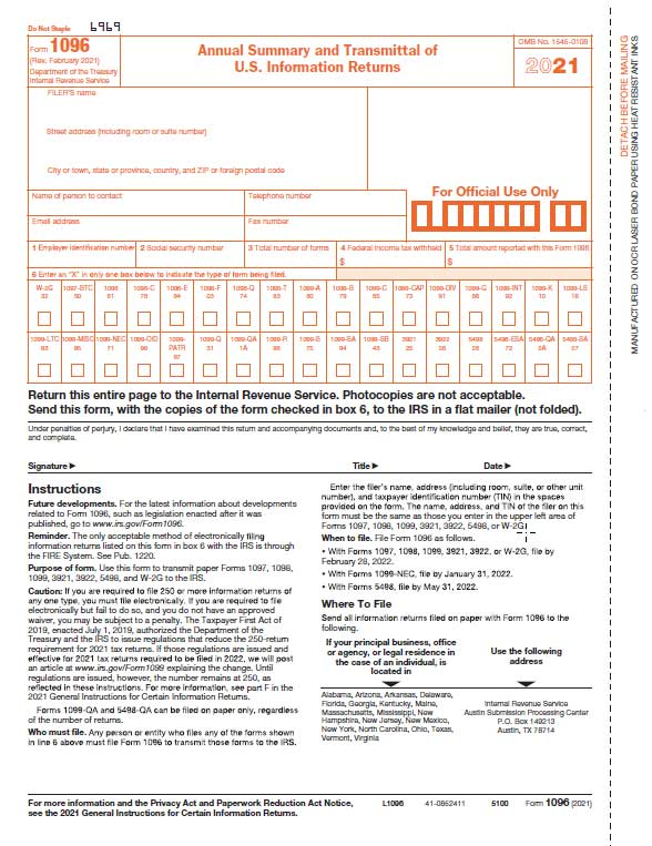 1096 Transmittal Laser Form 50-Sheet Pack