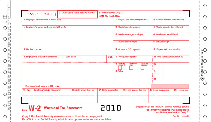 W-2 Twin Sets 6-Part Continuous Form One-Wide